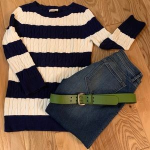 LOFT Striped Cable Knit Sweater